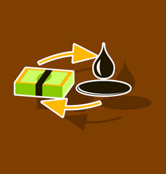 Paper sticker on theme arabic business sale of oil vector