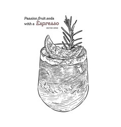 passion fruit soda with espresso hand draw sketch vector image