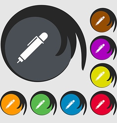 Pen icon sign Symbols on eight colored buttons vector
