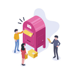 People stand near a large mailbox and send letters vector
