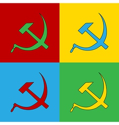 Pop art communist symbols vector image