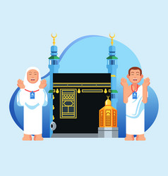 Praying cute hajj pilgrims character in front of vector