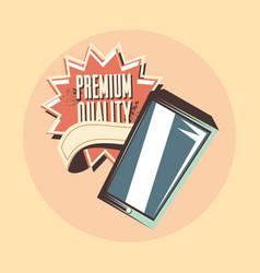retro shopping cellphone premium quality vector image