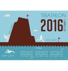 Retro triathlon competition poster Championship vector
