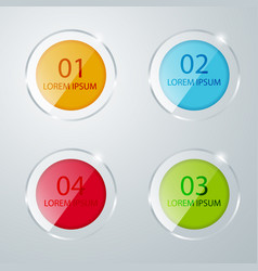 round colored glass icons banner template for vector image