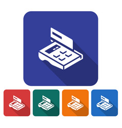 Rounded square icon of pos-terminal with credit vector