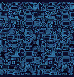 seamless pattern of outline home appliances icons vector image