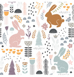 Seamless pattern with bunny floral elements vector