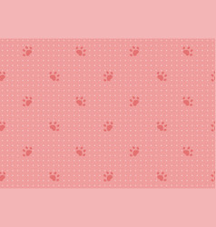 seamless pattern with dots and cat paws vector image
