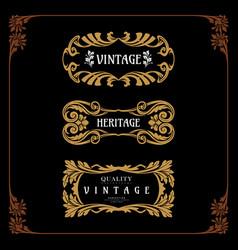 set badge art nouveau decorative style vintage vector image