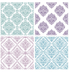 set damask floral seamless pattern vintage vector image