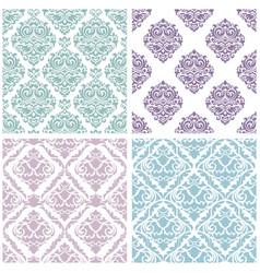 set damask floral seamless pattern vintage vector image