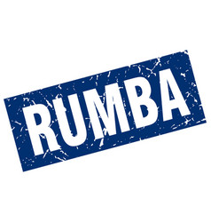 square grunge blue rumba stamp vector image