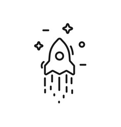 Start up business outlined line icon rocket vector
