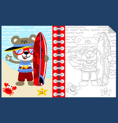 surfing time with funny animals cartoon coloring vector image