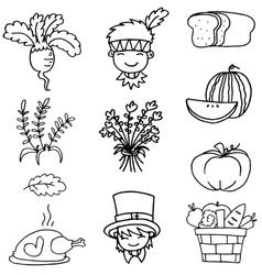 Thanksgiving set hand draw doodles vector