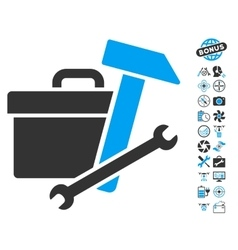 Toolbox Icon With Air Drone Tools Bonus vector image