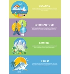 Traveling Cruise Ship and Camping Concept vector image