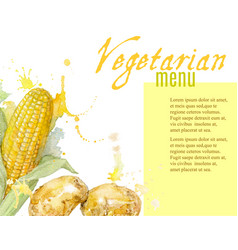 Vegetarian menu with watercolor vegetables vector