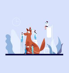 Veterinary concept veterinarian clinic tiny vector