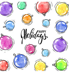 watercolor christmas balls frame hand drawn vector image