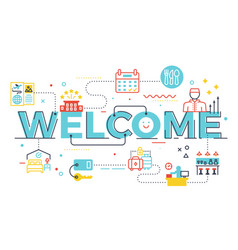welcome word lettering vector image