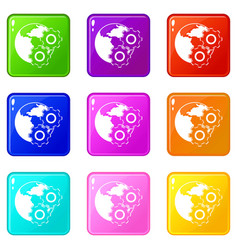 World planet and gears icons 9 set vector