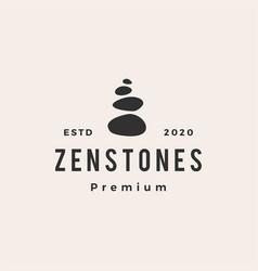 Zen stones hipster vintage logo icon vector