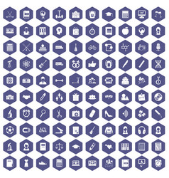 100 hi-school icons hexagon purple vector