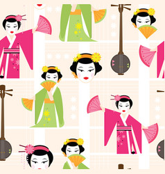 bright seamless pattern with a dancing geisha vector image