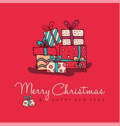 christmas new year cute cartoon decoration card vector image vector image