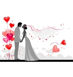 Couple with festive balloons vector image vector image