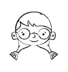 figure girl head with glasses and hairstyle design vector image vector image