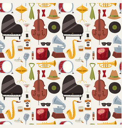 jazz musical instruments jazzband music seamless vector image vector image