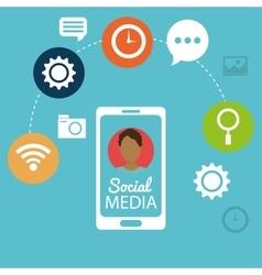 mobile phone man social media networking vector image