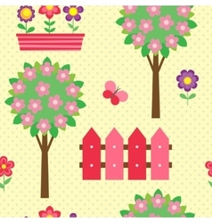 Seamless pattern with blooming trees vector image vector image