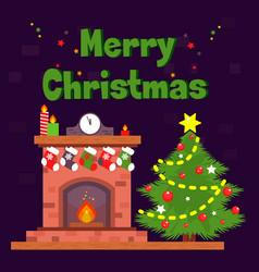christmas card with fireplace and christmas socks vector image