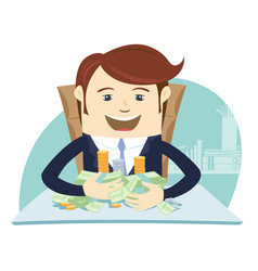 happy business man sitting at the table and vector image