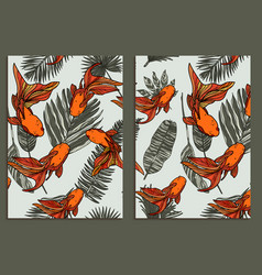 trendy background tropical leaves and fishes set vector image vector image