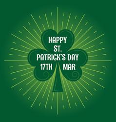 patricks day leaf clover logo vintage background vector image vector image