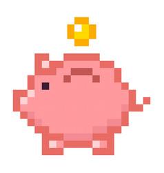 piggy bank money pixel art cartoon retro game vector image vector image