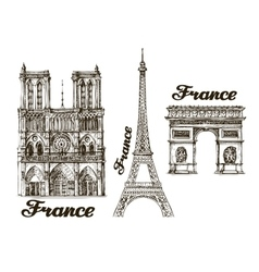 Travel Hand drawn sketch France vector image vector image