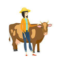 farmer standing with crossed arms near cow vector image