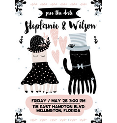 invitation card to wedding with calligraphy vector image