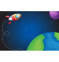 Spaceship flying over the earth vector image vector image