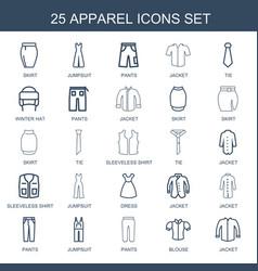 25 apparel icons vector