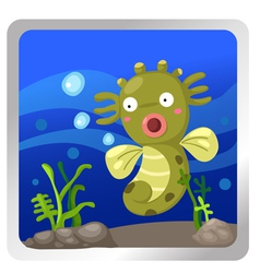 a sea horse underwater background vector image