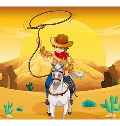 A white horse with a cowboy vector