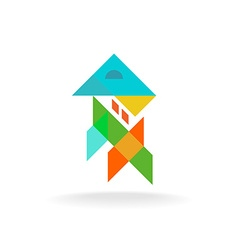 abstract colorful shapes house apartment exterior vector image