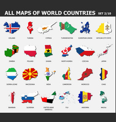All maps world countries and flags set 2 of vector